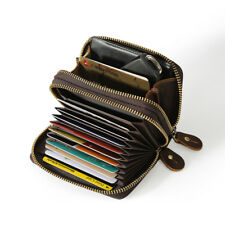 Vintage Style Men Genuine Leather Wallet Cash Card Coin Holder Case Zipper Purse
