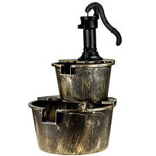 More details for 2 tier garden water barrel fountain pump cascade outdoor patio deck ornament