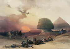 Pro Satin A3 Art Print, Approach of the Simoom Desert of Gizeh by David Roberts