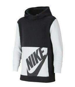 Nike Sportswear Big Boys Black/White Colorblock Fleece Lined Pullover Hoodie