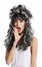 Perücke Damen Barock lang lockig hochgesteckt silber-grau schwarz weiß gesträhnt