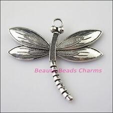 1 New Flying Dragonfly Animal Tibetan Silver Tone Charms Pendants 60x67mm