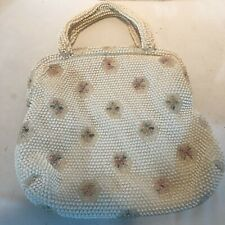 Vintage White Beaded Purse W/ Beaded Handles