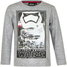 Camisa Niños Star Wars Jersey gris azul 104 116 128 140 Algodón #97