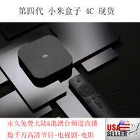 2021年最新小米盒子Xiaomi Mi TV Box 4C 4K智能机顶盒海外版  永久免费观看数千国内卫视、CCTV、港澳台直播, 海量高清节目、电视剧!