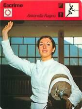 FICHE CARD: Antonella Ragno-Lonzi Italy Fleuret Escrimeuse FENCING ESCRIME 1970s