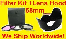 FILTER KIT+LENS HOOD 58mm fit NIKON SLR 28-80mm D50 D70 D80 D200 D40 D40X