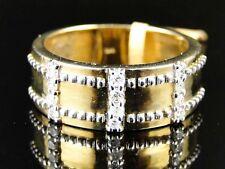 10K Mens Yellow Gold Designer White Diamond Engagement Wedding Band Ring .30Ct
