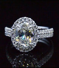 1.88 Ct Halo D,VS1 EGL Oval Cut 2 Rows Round U-Set Diamond Engagement Ring 14K