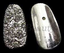 2 METAL  FULL COVER TIP NAIL ART DECORATION DIAMOND LOOK GEMS JEWELRY CHARMS