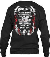 Supersoft Biker Prayer - Bikers As I Lay Rubber Gildan Long Sleeve Tee T-Shirt