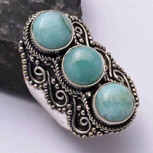 Amazonite Ethnic Handmade Ring Jewelry US Size-9 AR 43024