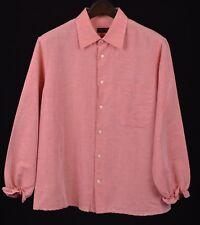 Corneliani ID Peach Cropped COTTON LINEN  3/4 Sleeve Casual Safari Shirt XL