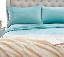 Berkshire Blanket Velvet Soft Cozy KING Sheet Set/ COLOR SEAGLASS