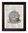 Cupcake - Dictionary Art Print Printed On Authentic Vintage Dictionary Book Page