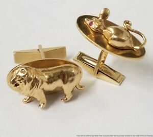 Rare Heavy Tiffany Co Lion Mouse 14k Gold Cufflinks Natural Ruby Eyes 22.8g