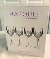 Marquis by Waterford Set of 4 Brady Water Wine Goblets Crystalline NIB $100