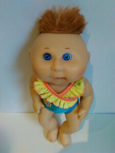 1991 HARD VINYL JOINTED 31 CM CABBAGE PATCH KIDS DOLL in swimmers/bathers-Signed