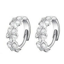 plated Ear Stud Earrings Je Lad 1 Pair Elegant Small Camellia Silver