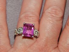 RADIANT ORCHID QUARTZ AND WHITE TOPAZ RING SIZE M-5.00 CARATS-WITH PLATINUM