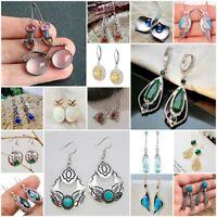 925 Silver Ruby Emerald Earrings Turquoise Ear Studs Hook Dangle  Jewelry Gift