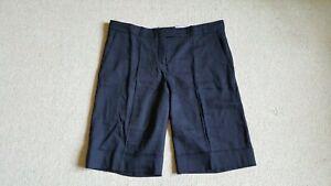 Womens Shorts-BOSS by HUGO BOSS-black linen blend flat front Bermudas-12