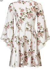 Miss Selfridge Cherry Blossom Skater Dress With Flute Sleeves Size Uk10