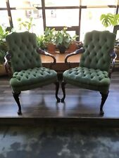 Vintage HANCOCK & MOORE Tufted Leather Suede Claw Foot Green Armchair Set Two