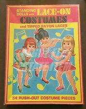 """1974 SAALFIELD """"STANDING DOLLS WITH LACE-ON COSTUMES"""" 3 PAPER DOLLS & 54 CLOTHES"""