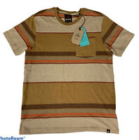 prAna Dominic Crew Shirt Embarked Brown Striped Men's Med Front Pocket $49 NWT