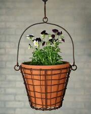 Garden Outdoor Indoor Round Hanging Basket with Terracotta Pot - Green/Rust