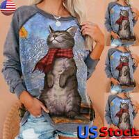 Women Casual Long Sleeve Cat Sweatshirt Tops Ladies Loose Pullover Jumper Blouse