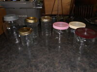Lot of 7 Vintage Clear Glass Jars Lids Country Farmhouse Wedding Decor