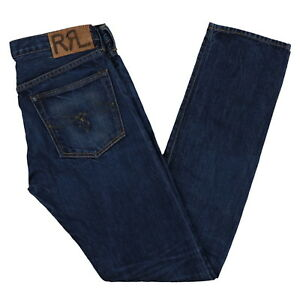 Polo Ralph Lauren Mens Double R Jeans Slim Straight Fit Bottoms Zip Fly New 28