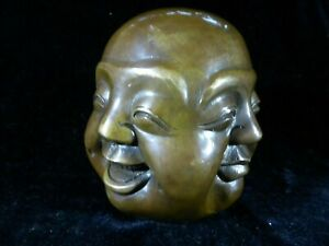 Antique Bronze Buddha Statuette Figure Head 4 Faces  Happy Satisfied Angry Sad