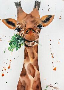 "Watercolor original painting 8""x11"" animal giraffe art by Anne Gorywine"