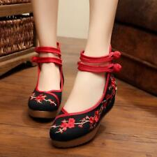 Womens Folk Chinese Embroidered Flowers Flats Loafer Ballerina Ballet Pump Shoes