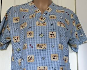 Disney Mickey And Minnie Mouse Scrub Top Size L Love Spring In The Air Hearts