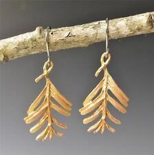 Unique Cute Michael Michaud Silver Seasons Sequoia Leaf Drop Earrings Made in US