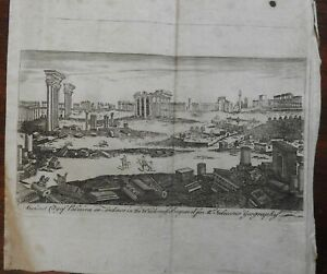 Palmyra Syria Ancient Roman Ruins Bird's Eye View c. 1730 Gavinengraved view