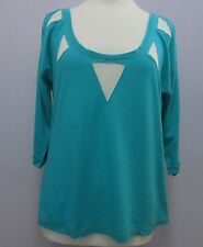 Bnwt Femme CACHE CACHE Turquoise Top, encolure dégagée 1/2 Longueur de manches, Grand