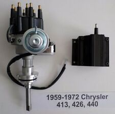 CHRYSLER 413-426-440 BLACK Ready-To-Run Small Cap HEI Distributor & 50k V Coil