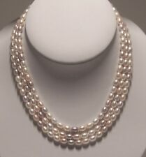 Hand strung 3 strands multi-color fresh water cultured Pearl necklace.