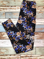 Blue Floral Print Leggings Soft Brushed Peach Skin Fabric OS One Size COMFY