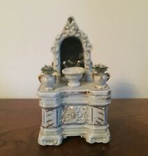 Antique Porcelain Whimsey Trinket Box Chest of Drawers Mirror 19th c. Fairing