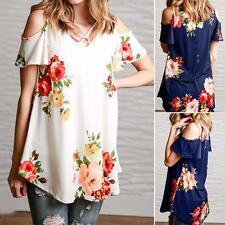 Women Off Shoulder Casual Tops Ladies Loose Summer Floral Shirt Blouse Plus Size