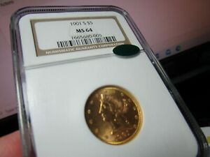 GOLD  $5.00 LIBERTY HEAD GEM 1901-S  NGC & CAC  A REALLY CLEAN 1/4 OZ OF AU COIN