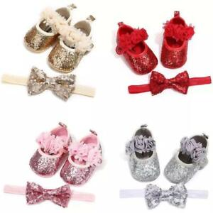 Sequins Baby Girls Shoes Infant Newborn Princess Shoes First Walkers + Hairband