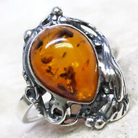 FANCY NATURAL BALTIC AMBER 925 STERLING SILVER RING SIZE 5-10