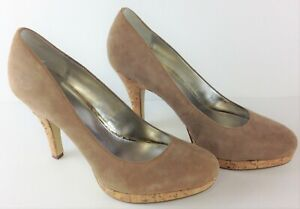Alfani Womens Size 8.5M Light Brown Suede MADDY Pump Cork Heels